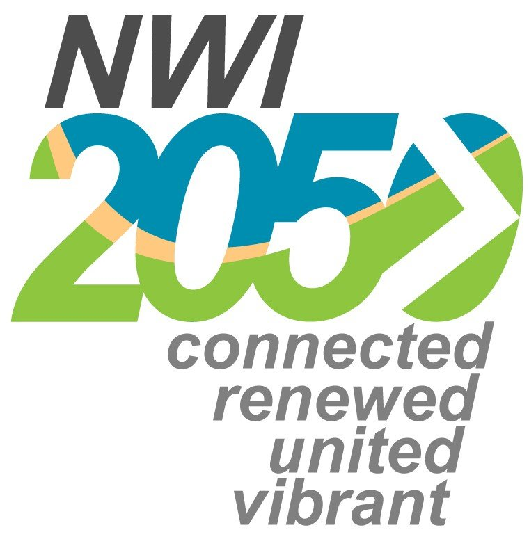 Logo for NWI 2050 Plan. Image is a wording of NWI on top of 2050 with the words connected renewed united vibrant below the 2050